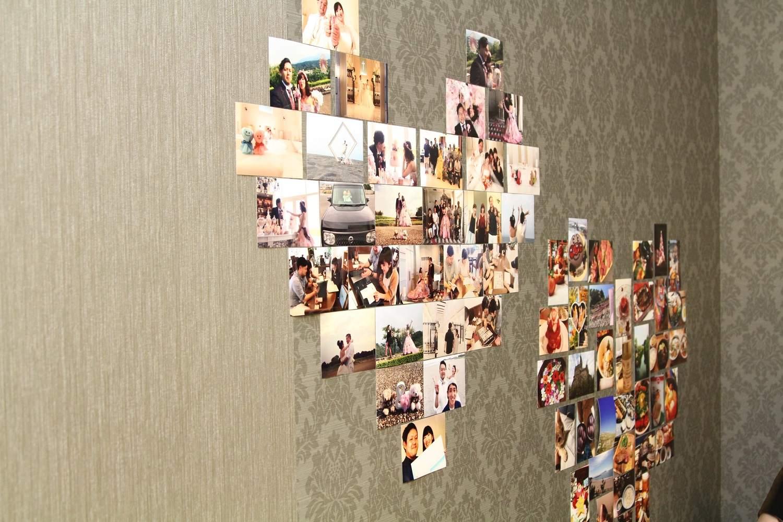 徳島市の結婚式場ブランアンジュでハート型のフォト展示