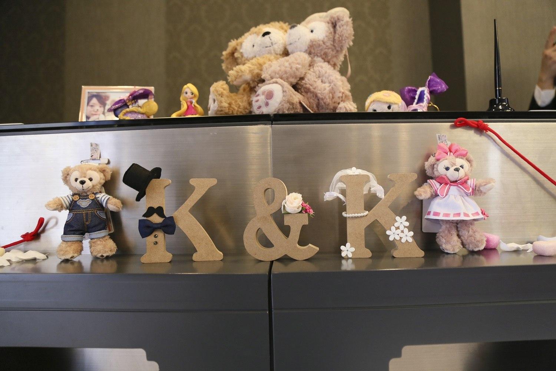 徳島市の結婚式場ブランアンジュでダッフィとシェリーメイをロビーを装飾