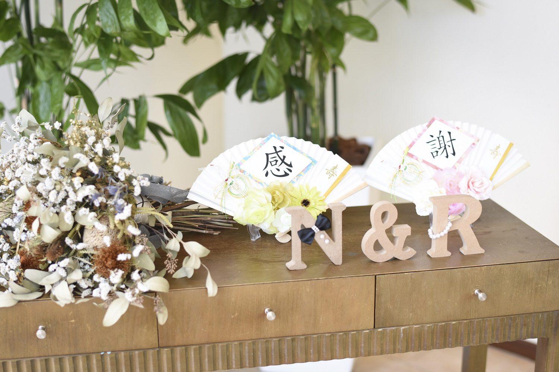 徳島市の結婚式場ブランアンジュで和を取り入れたウエルカムスペースの装飾
