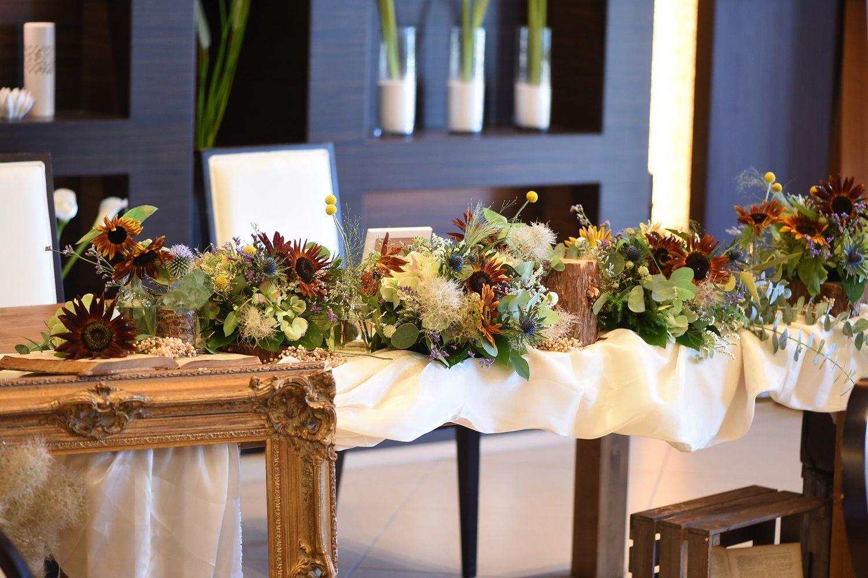 徳島市の結婚式場ブランアンジュの披露宴でナチュラルなテーブルコーディネート
