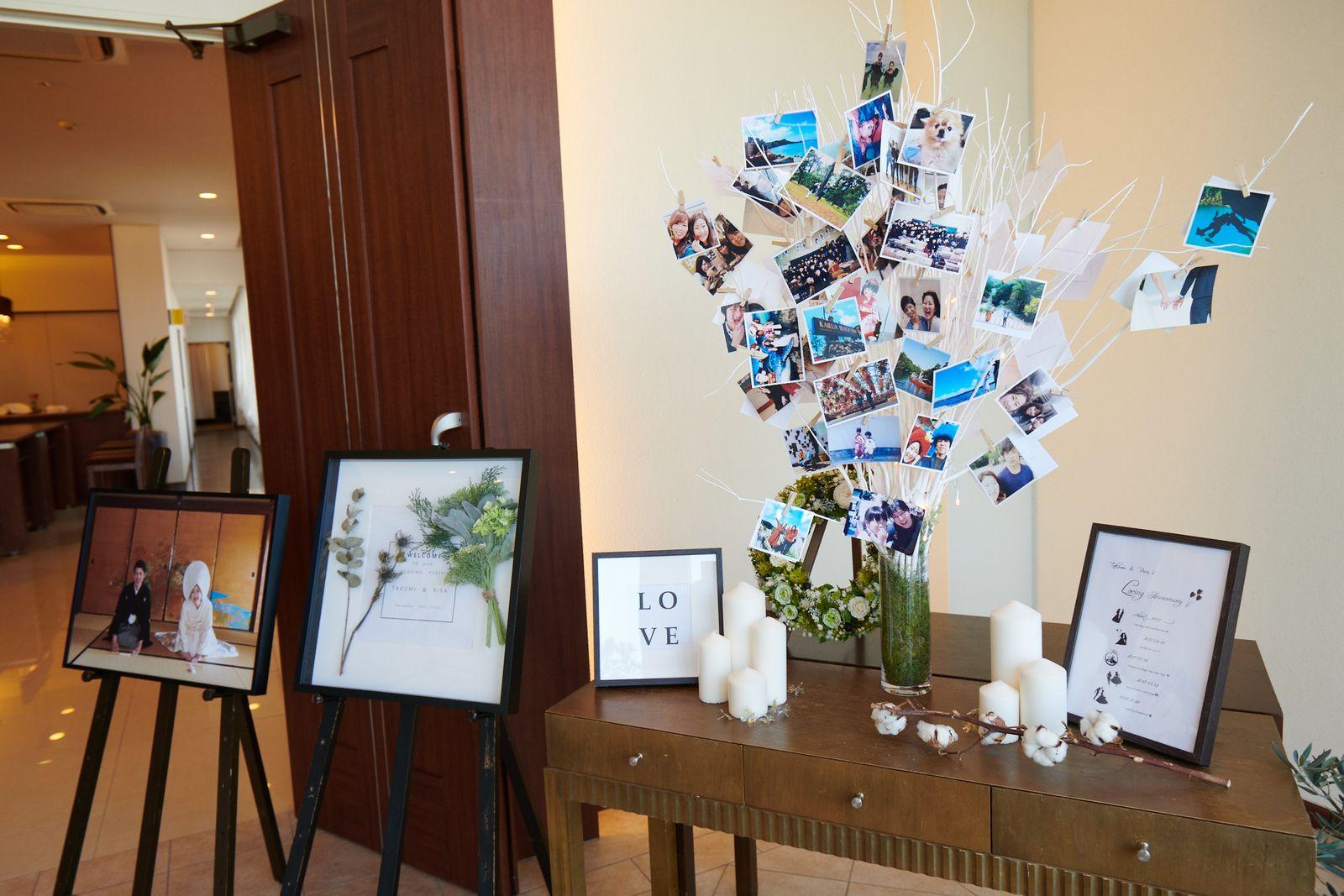 徳島県の結婚式場ブランアンジュの会場前の手作りアイテムやコーディネート