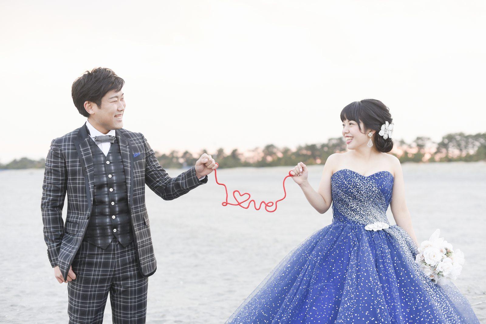 徳島市の結婚式場ブランアンジュの海での前写しショット