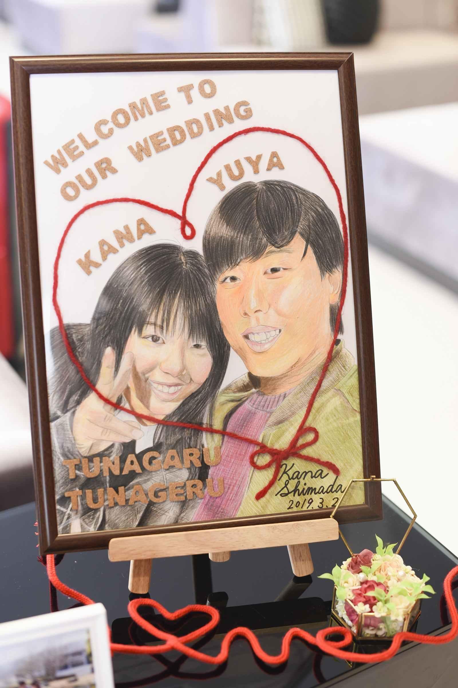 徳島市の結婚式場ブランアンジュの似顔絵ウエルカムボード