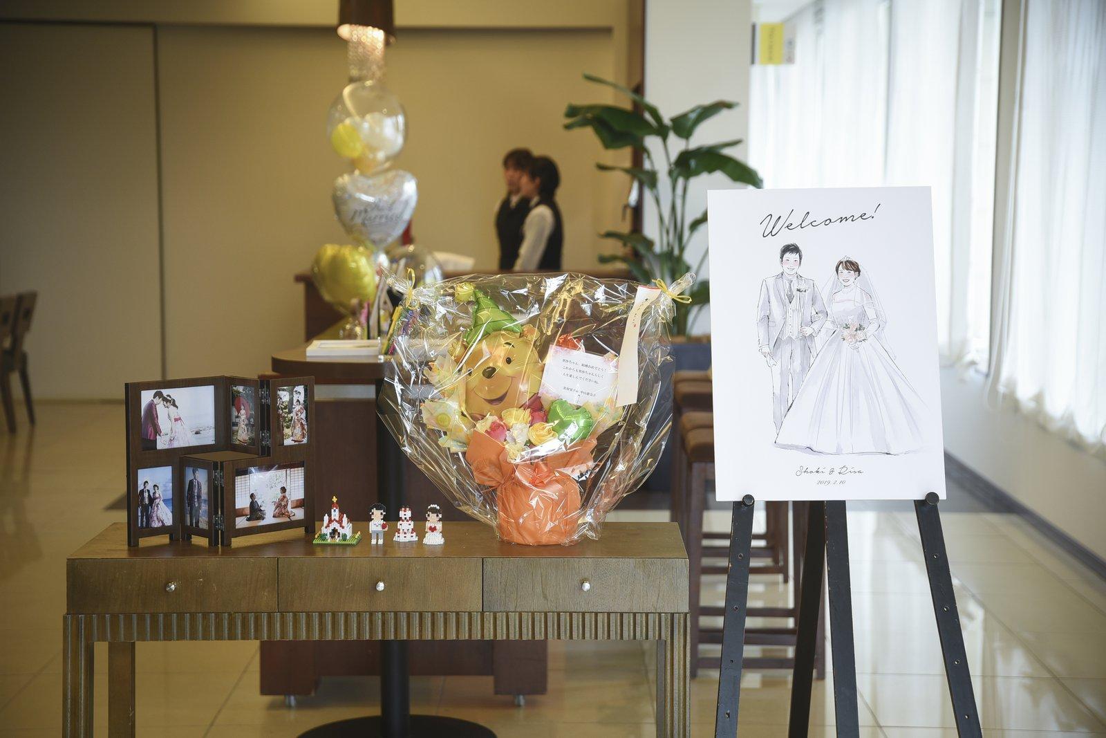 徳島市の結婚式場ブランアンジュで受付ロビーで新郎新婦様のらしさ溢れる受付飾り