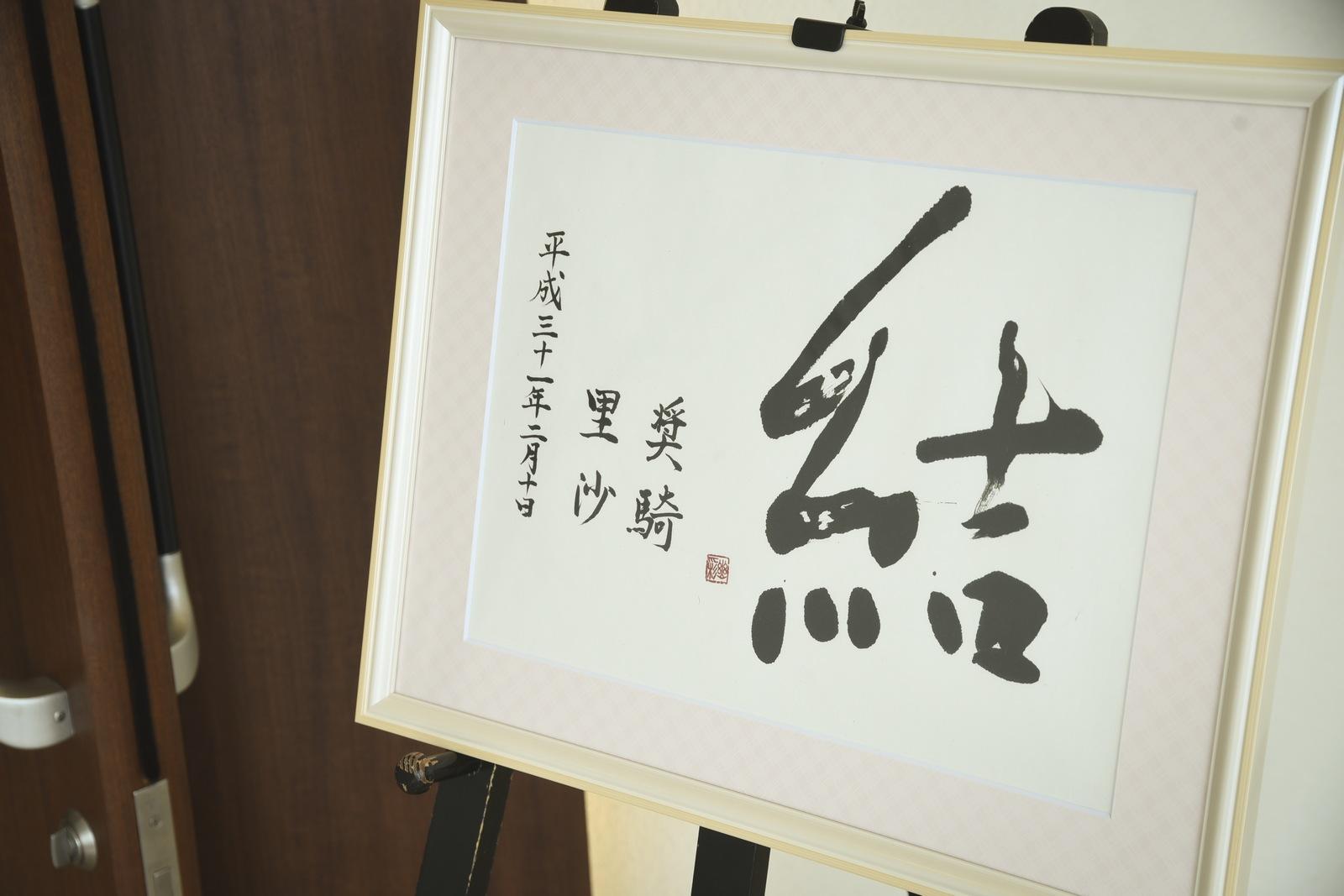 徳島市の結婚式場ブランアンジュで受付ロビーで新郎新婦様からのおもてなし