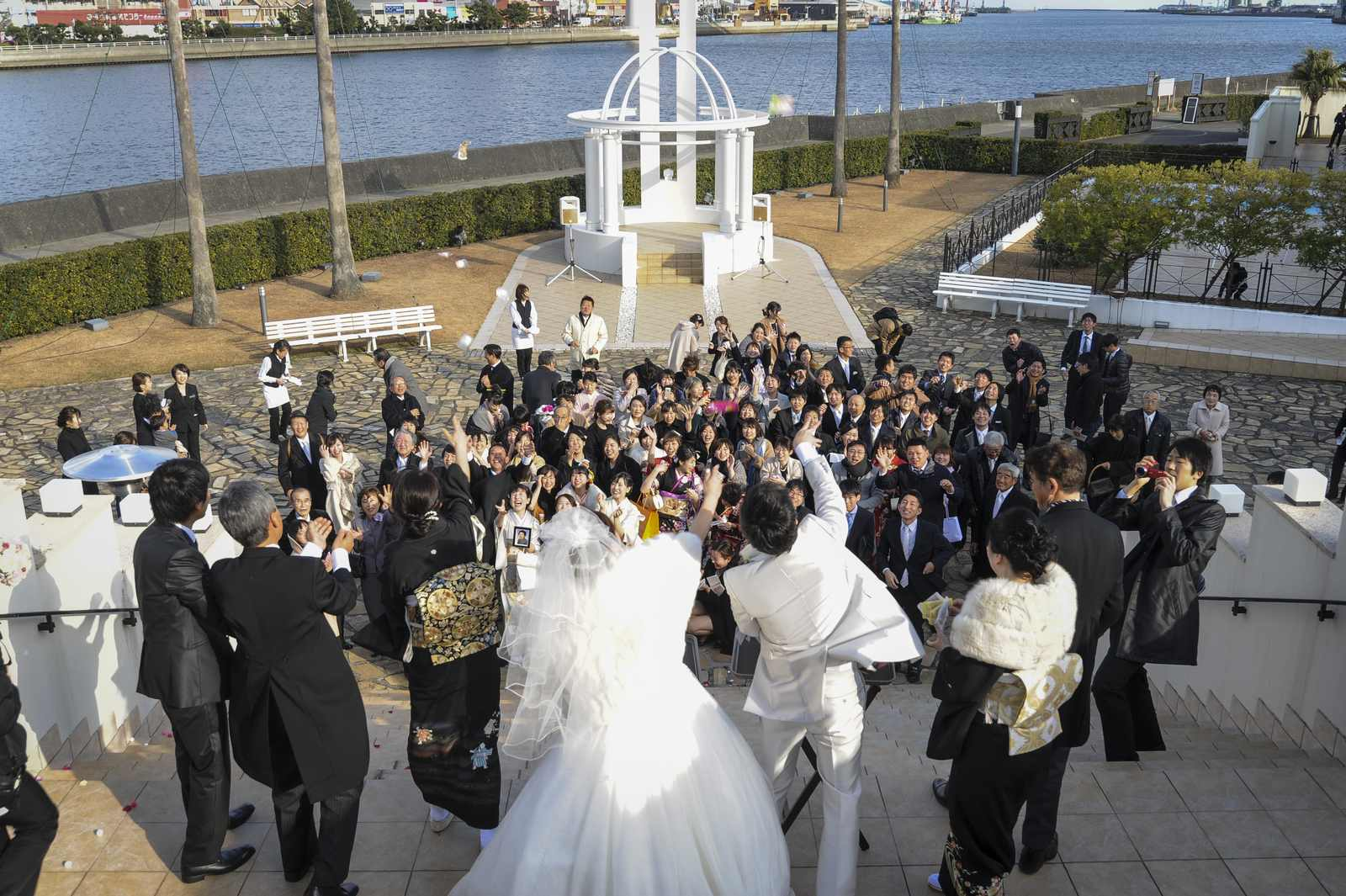 徳島市の結婚式場ブランアンジュで挙式後にゲスト全員でセレモニー