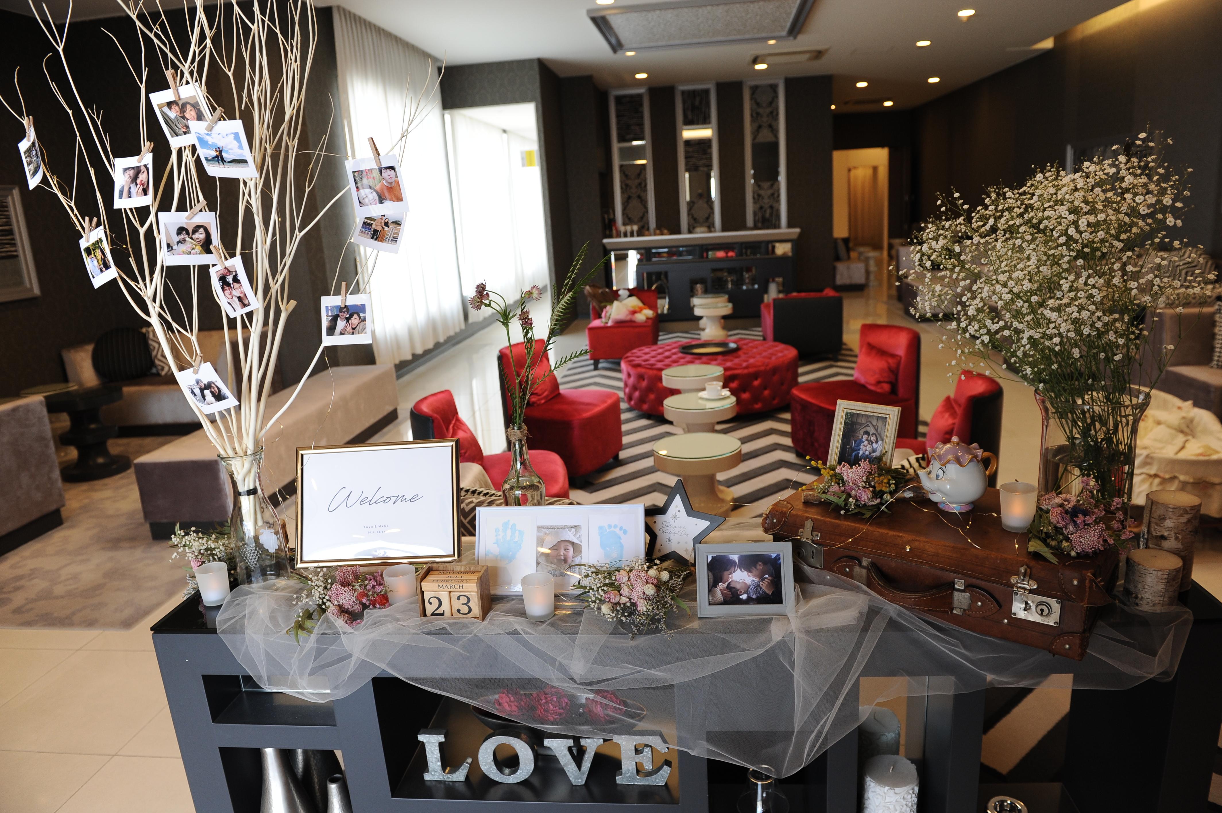 徳島市の結婚式場ブランアンジュの専用ロビーでのオリジナルコーディネート