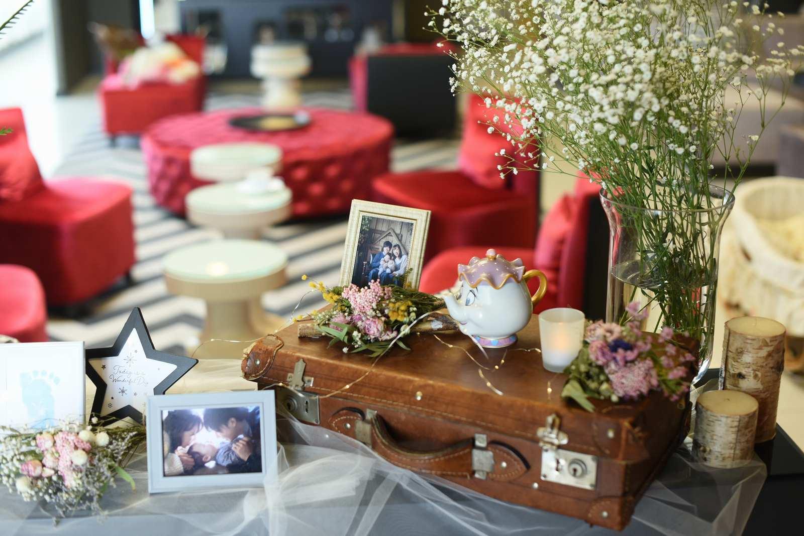 徳島市の結婚式場ブランアンジュのウェルカムスペースはナチュラルコーディネート