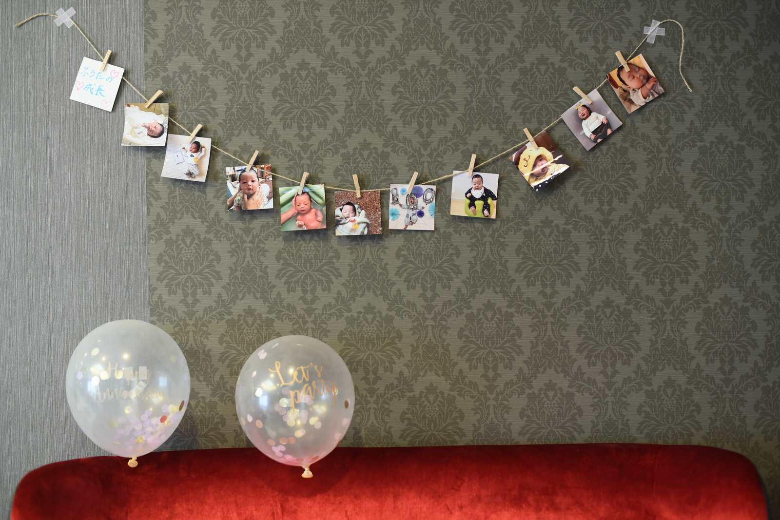徳島市の結婚式場ブランアンジュの専用ロビーでお気に入りの写真で飾るコーディネート
