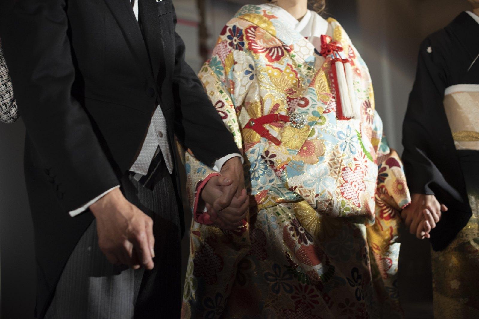 徳島市の結婚式場ブランアンジュのお色直し入場は雰囲気を変えて和装で登場