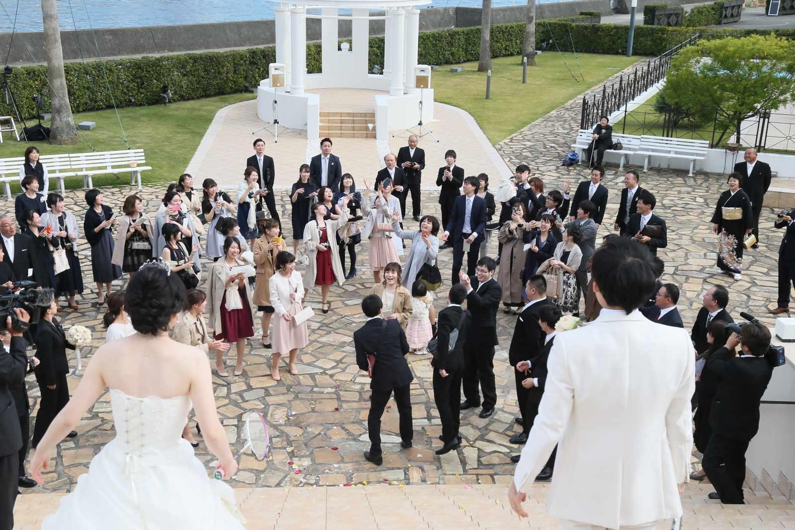 徳島市の結婚式場ブランアンジュで挙式後にゲストと共に過ごすフリータイム