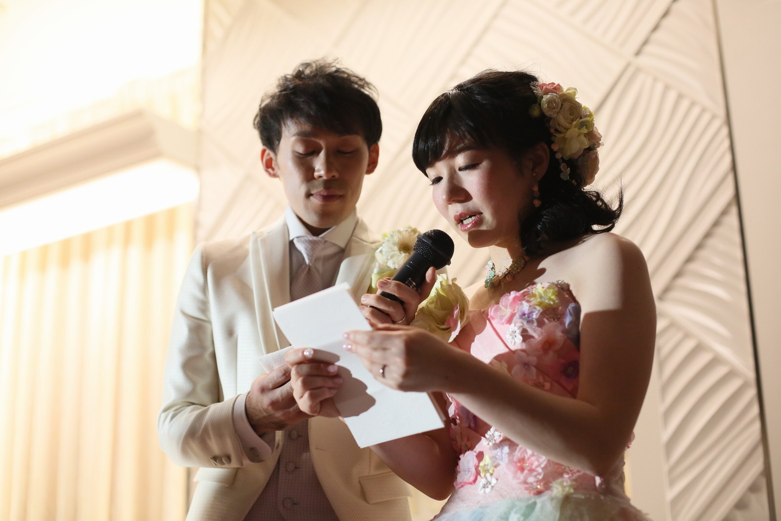 徳島市の結婚式場ブランアンジュで披露宴でのご両親様にむけた新婦様からのお手紙の披露