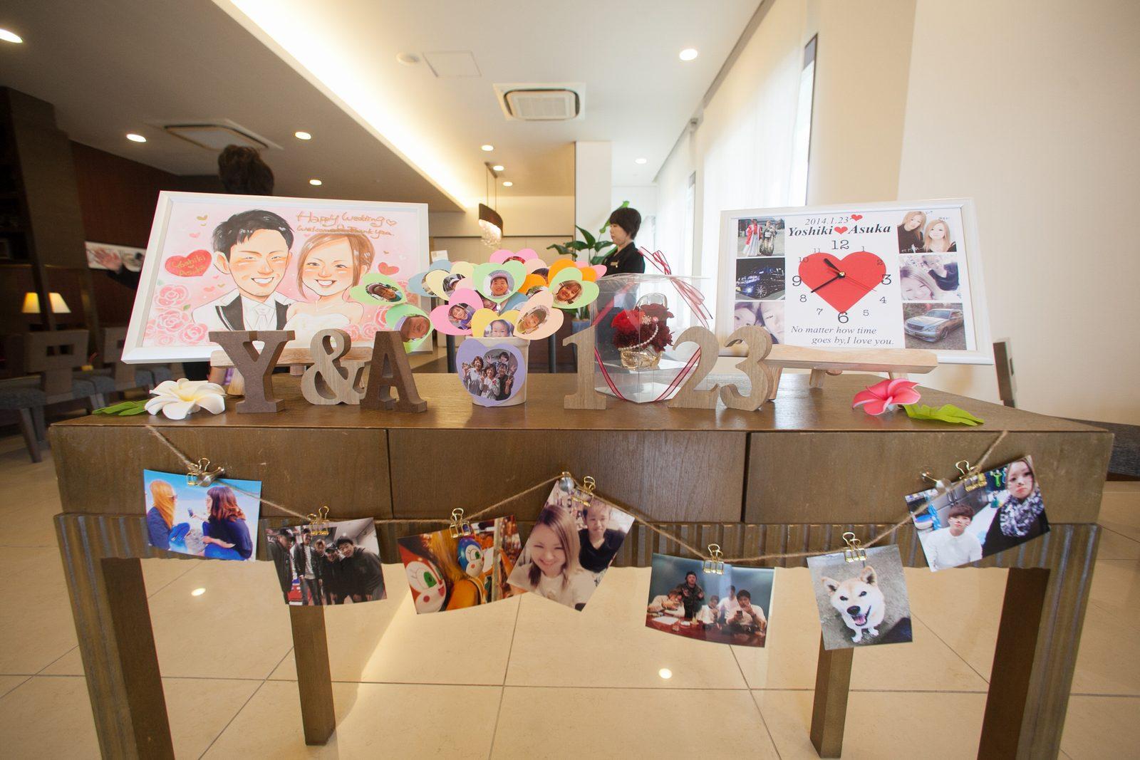 徳島市の結婚式場ブランアンジュで新郎新婦の個性溢れる受付飾り