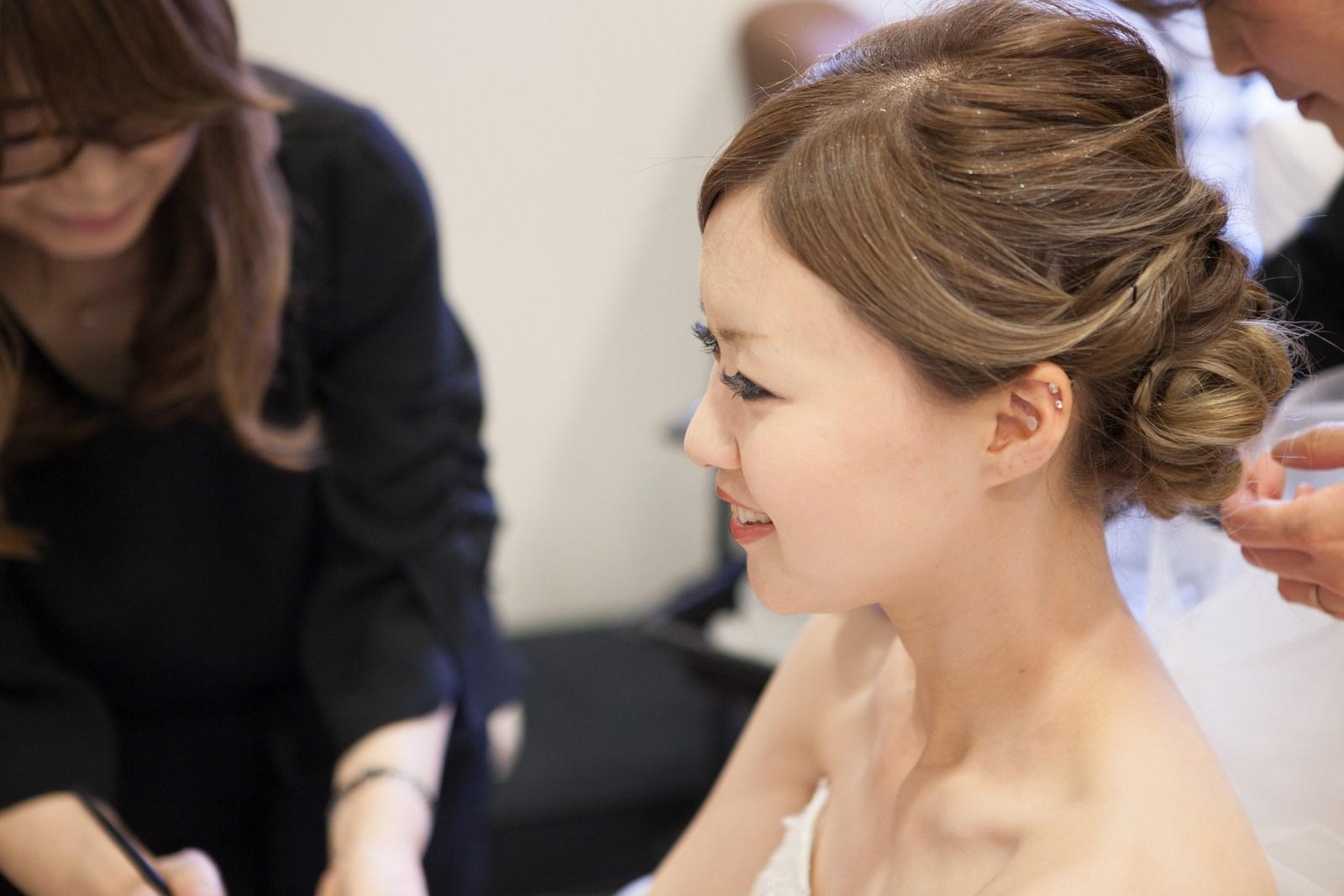 徳島市の結婚式場ブランアンジュで挙式前の花嫁メイク