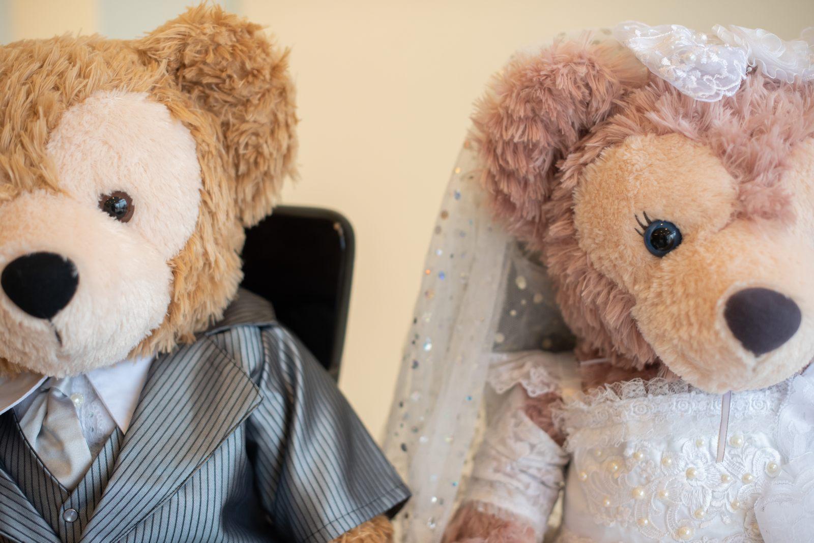 徳島市の結婚式場ブランアンジュで受付に飾ったダッフィー&シェリーメイ