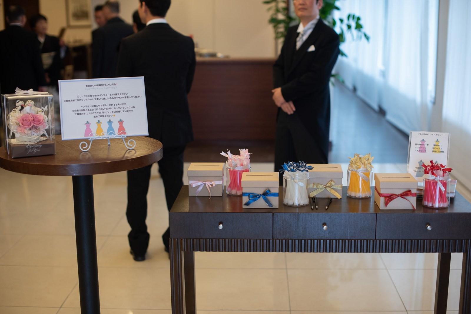 徳島市の結婚式場ブランアンジュでカクテルドレスの色当てクイズコーナー