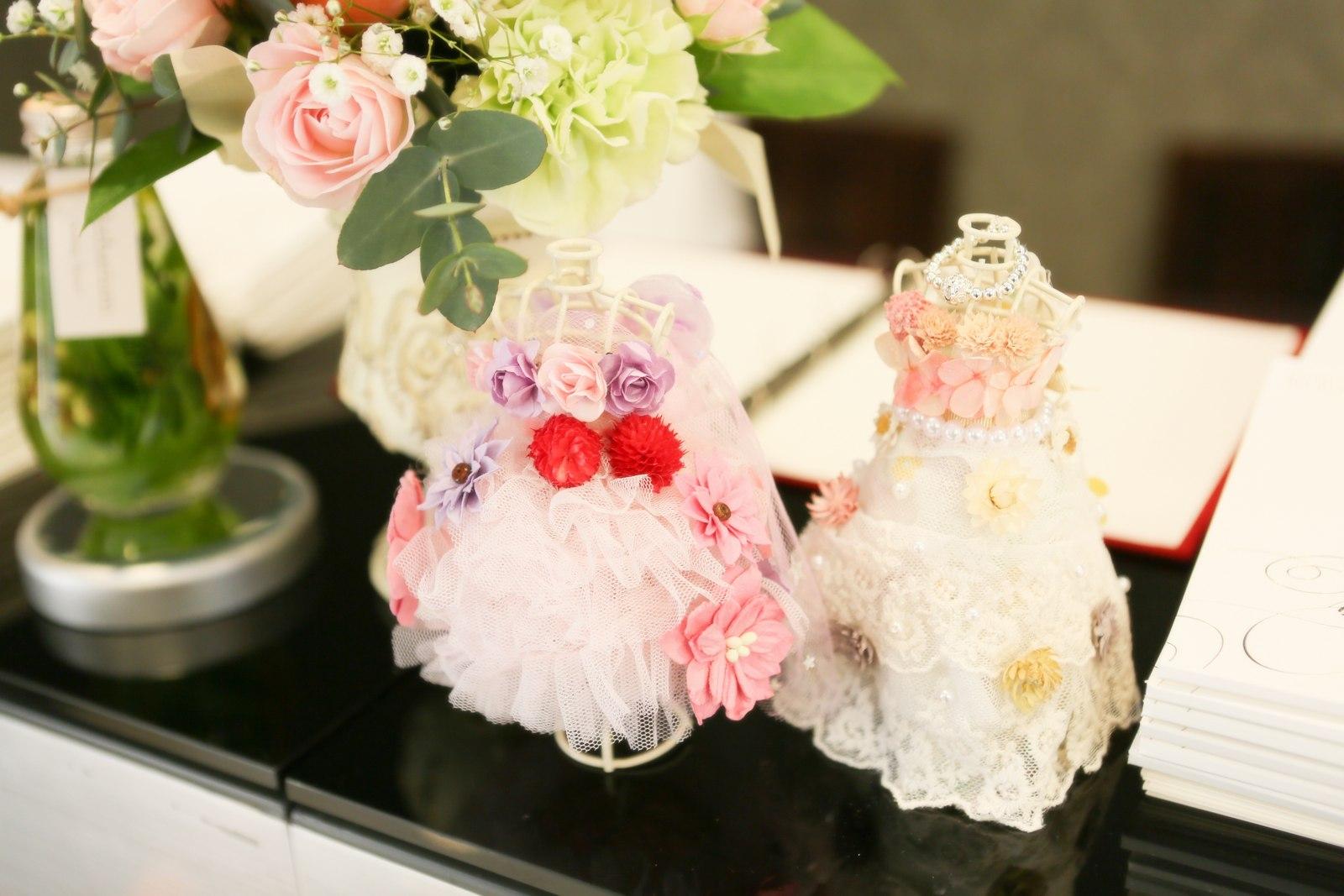 徳島市の結婚式場ブランアンジュで待合に飾ったアイテム