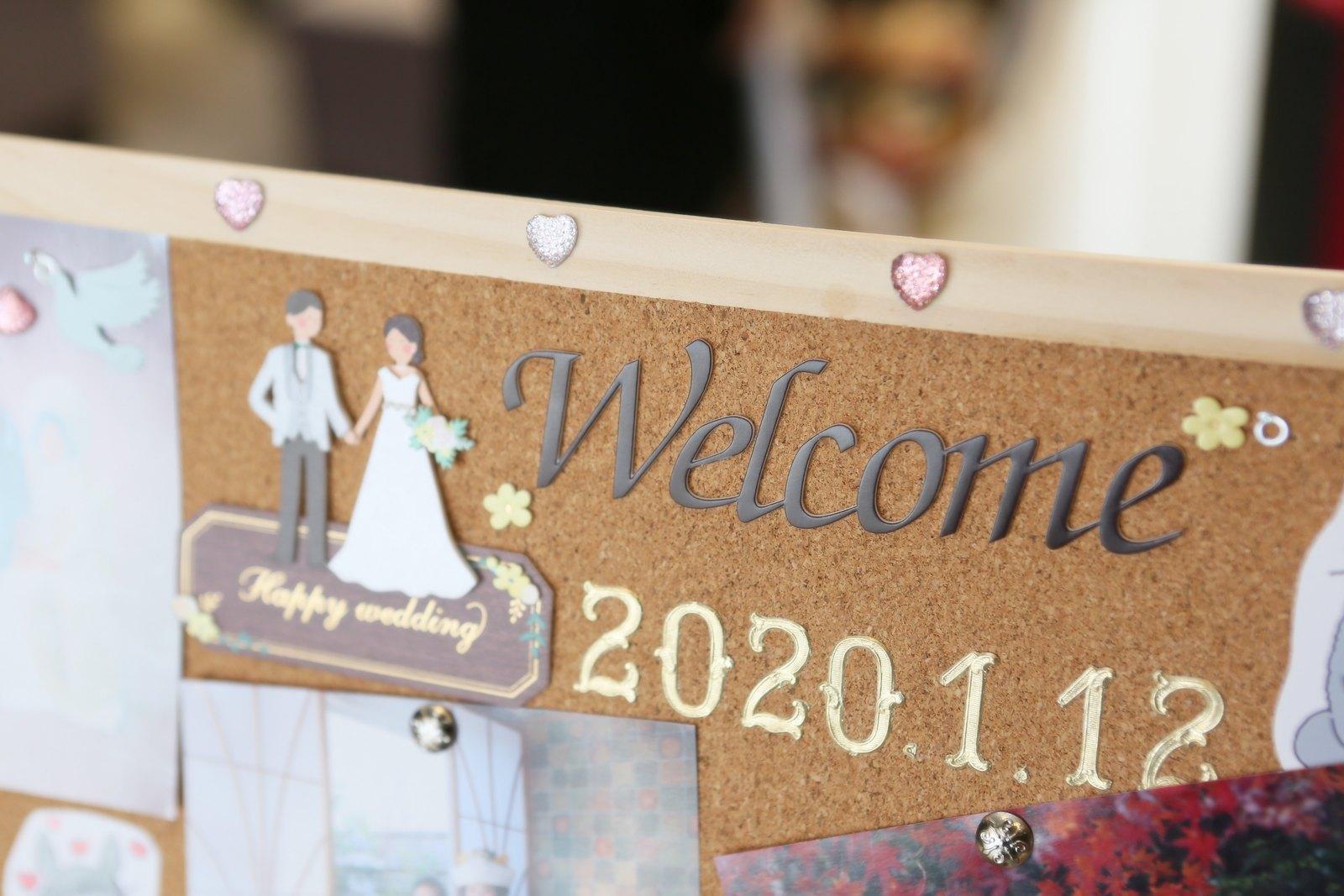 徳島市の結婚式場ブランアンジュで新郎新婦が手作りしたウェルカムボード