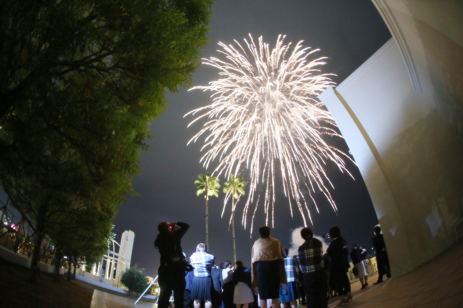 徳島市の結婚式場ブランアンジュで演出の打ち上げ花火を見上げる様子