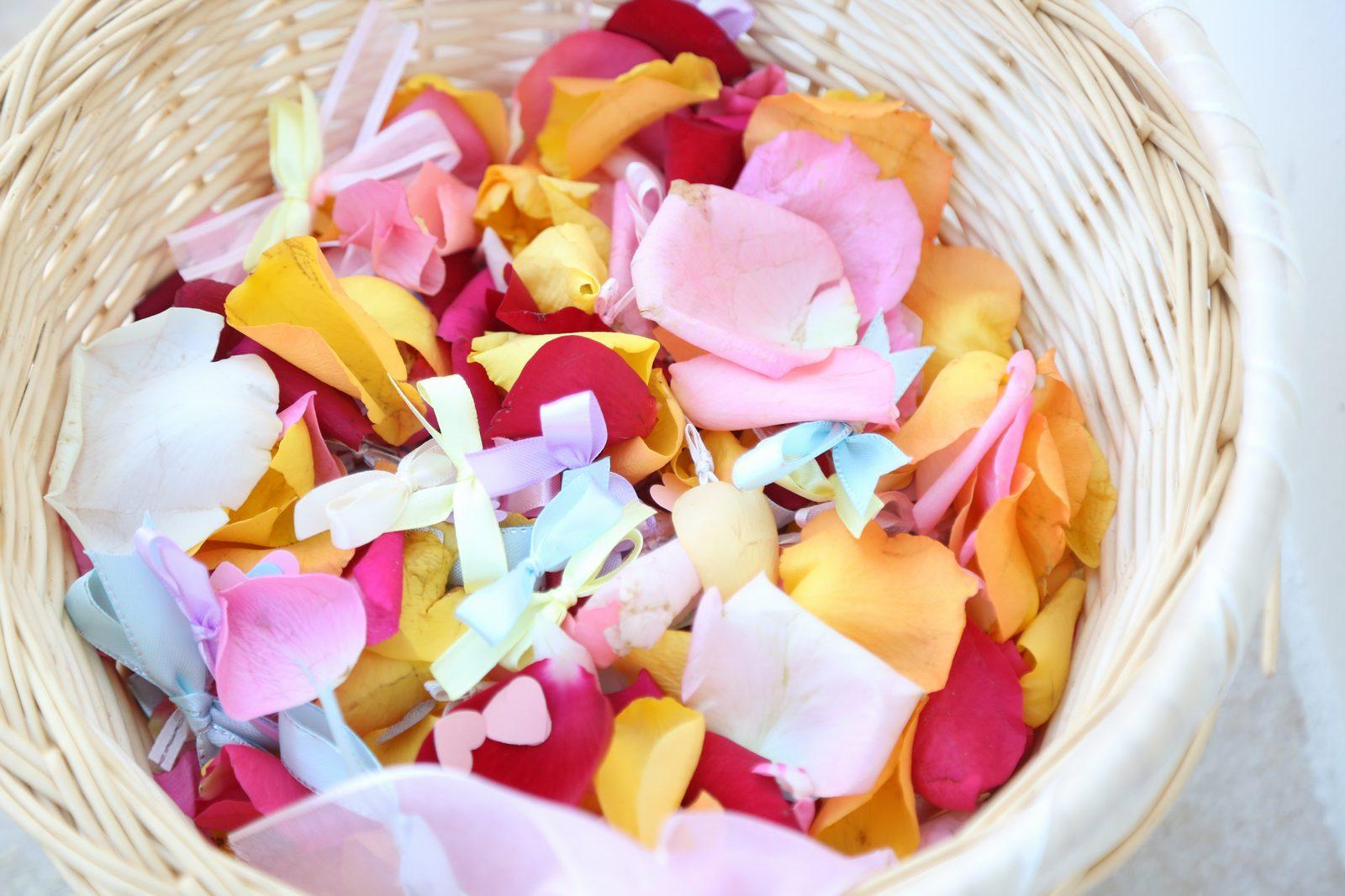 徳島市の結婚式場ブランアンジュで新郎新婦を祝福する生花フラワーシャワー