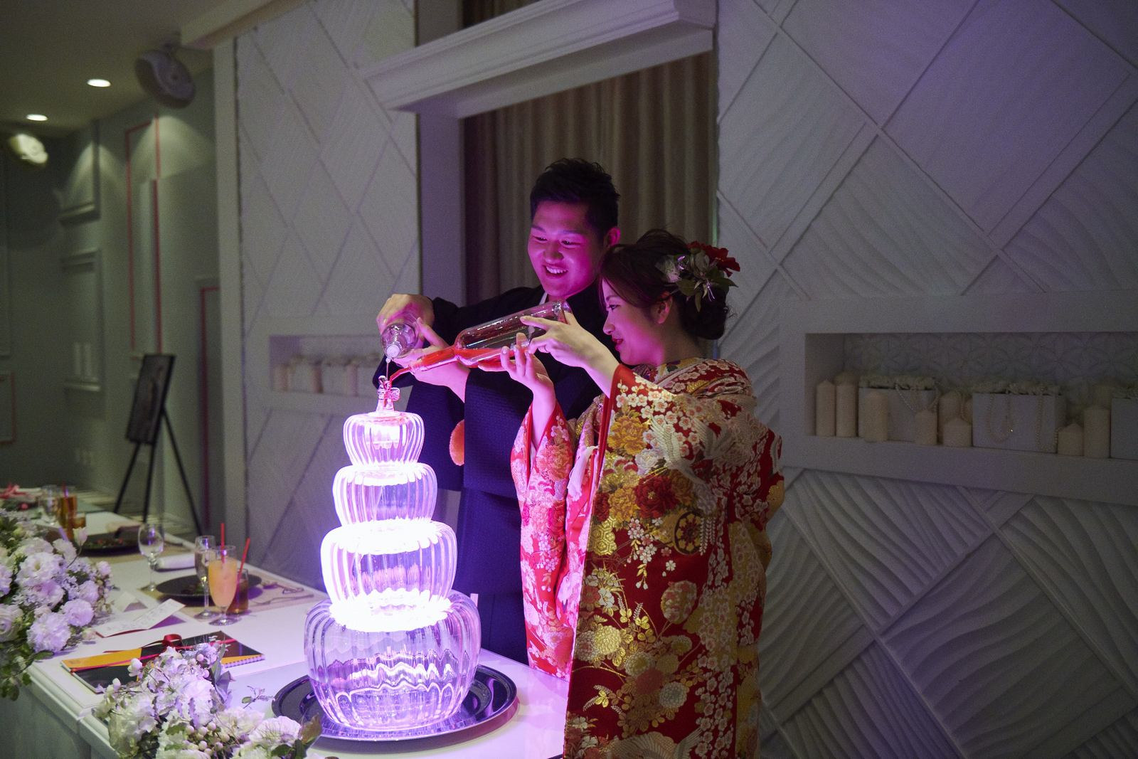 徳島市の結婚式場ブランアンジュでメインタワー演出を行う新郎新婦様