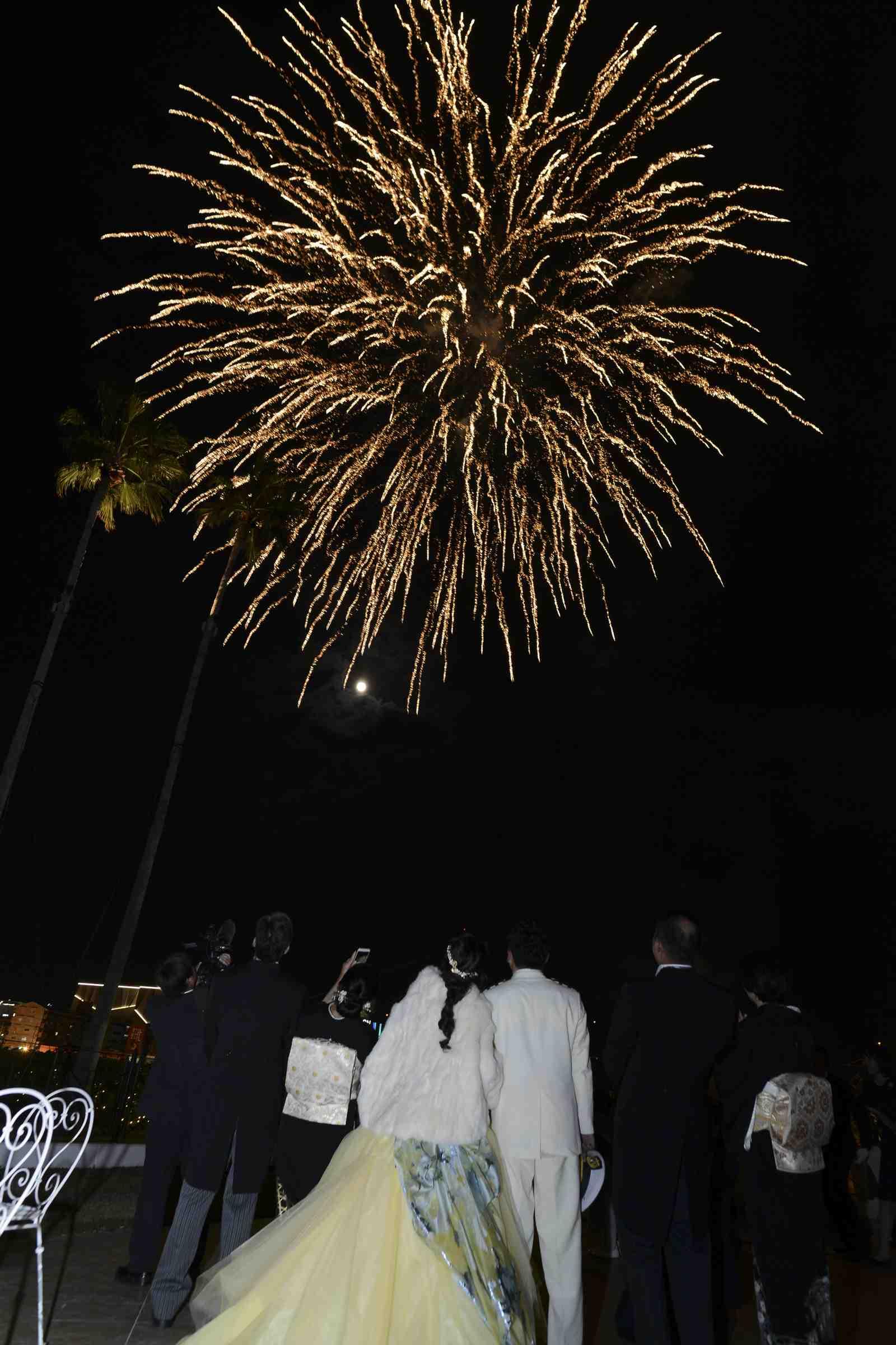 徳島市の結婚式場ブランアンジュで夜空に美しく咲いた感謝と祝福の気持ちがこめられた打ち上げ花火