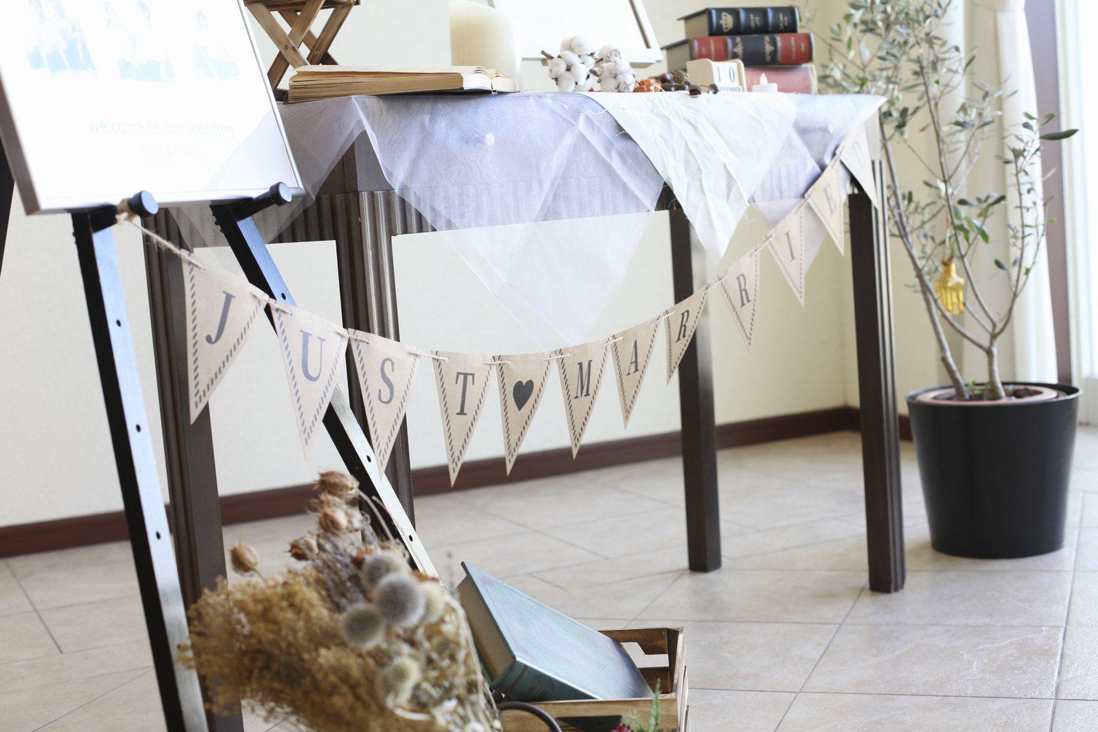 徳島市の結婚式場ブランアンジュで受付周辺に飾ったガーランド