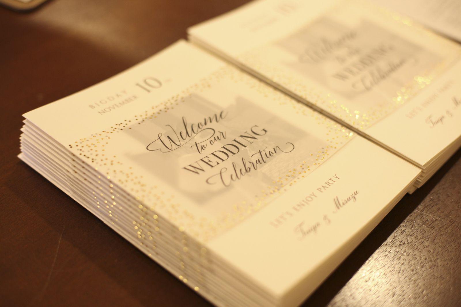 徳島市の結婚式場ブランアンジュで新郎新婦が手作りした席次表