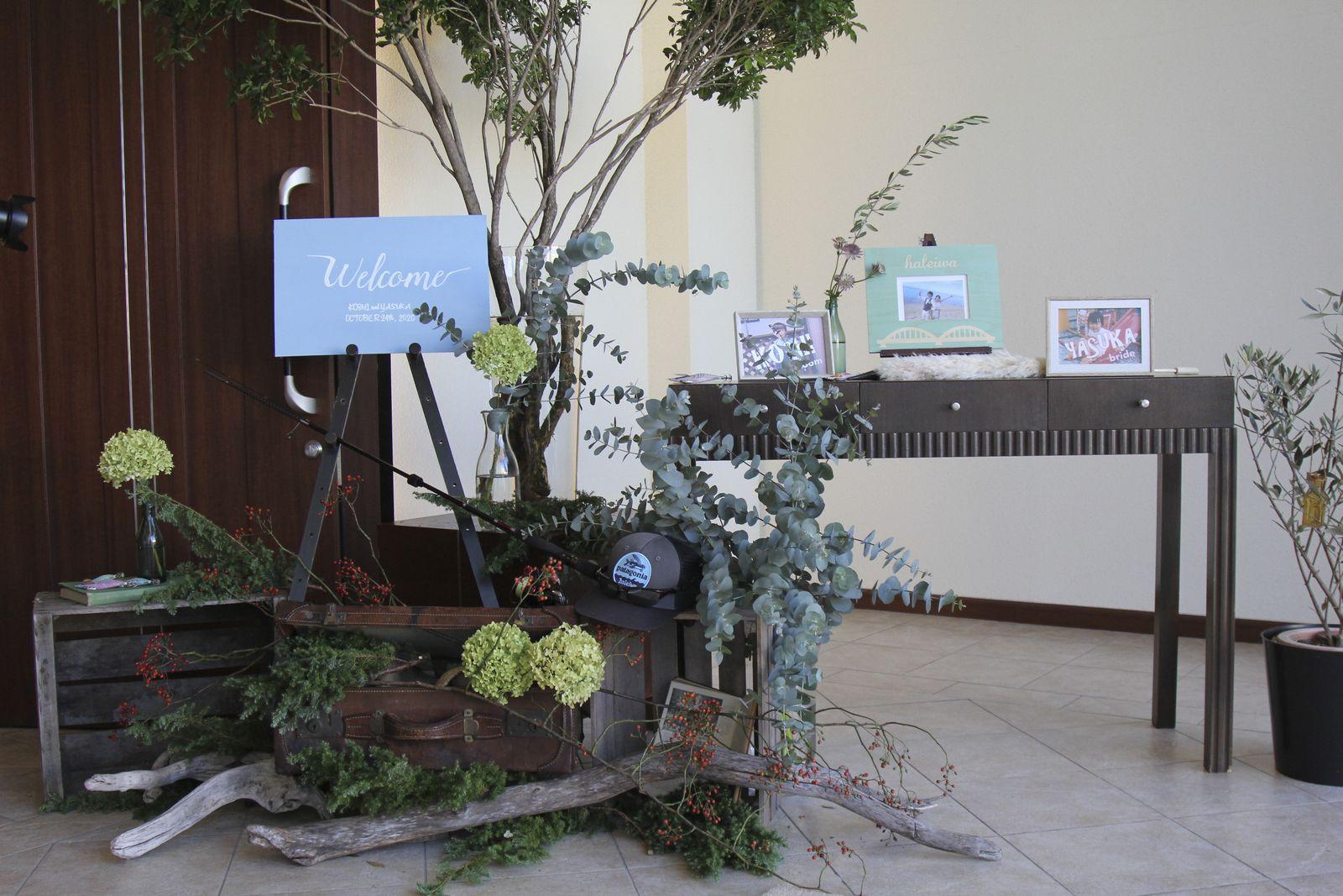 徳島市の結婚式場ブランアンジュで受付周りのウェルカムボード・グッズ