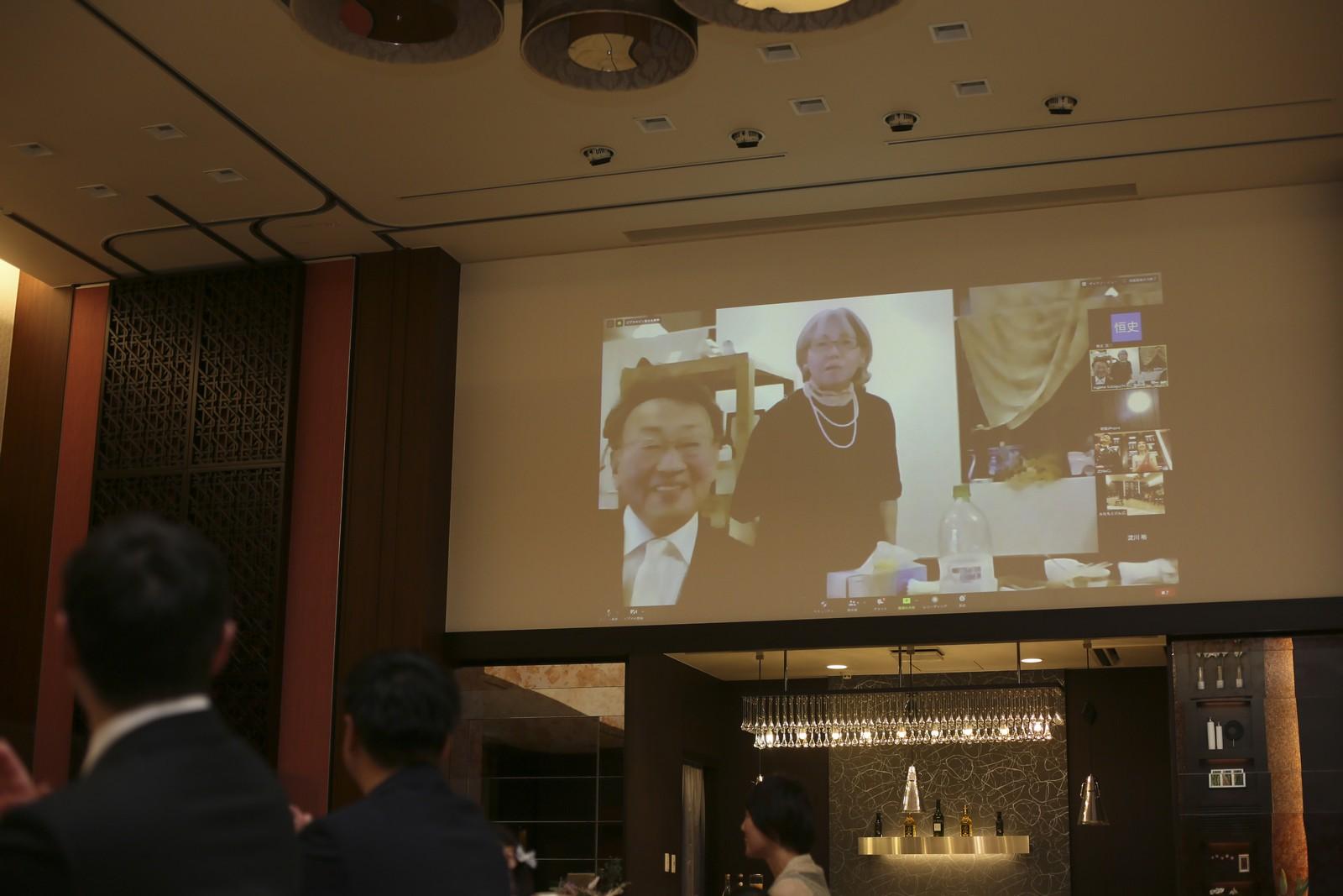 徳島県の結婚式場ブランアンジュでリモート画面を通して親族紹介を実施